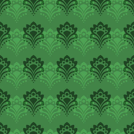 Seamless background - Abstract flowers in emerald tones Vector