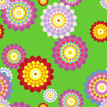 splendour: Seamless floral background with mosaic multi-colored flowers Illustration