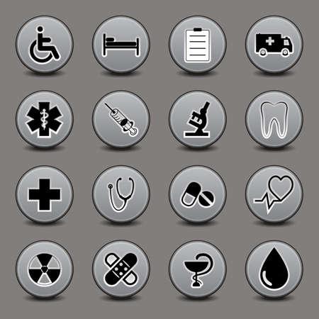 診療科目、灰色の色調でのラウンド フォーム上のアイコンのセット