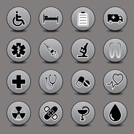 Set of icons on a medical subject, a round form, in gray tones