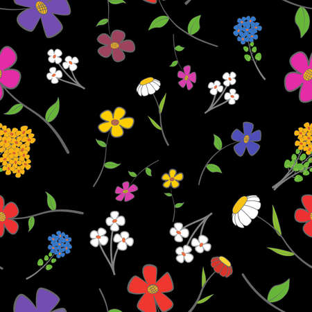 camomile flower: Background - floral seamless on a black with a variety of flowers