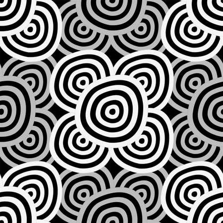 geometria: De fondo sin fisuras - hipn�ticos c�rculos blancos y negros Vectores