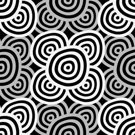 Seamless background - hypnotic black and white circles Vector