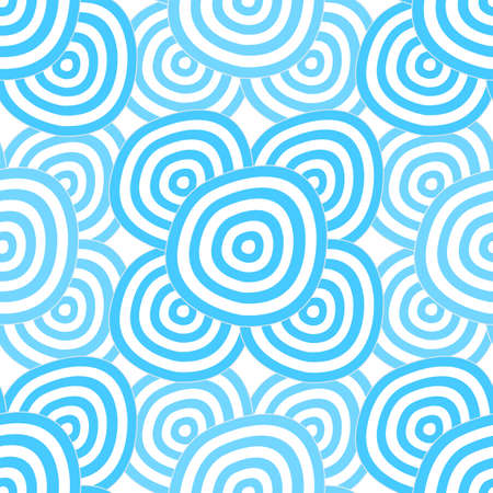 Seamless background - hypnotic cyan circles. EPS 10 vector, swatch included. Illustration