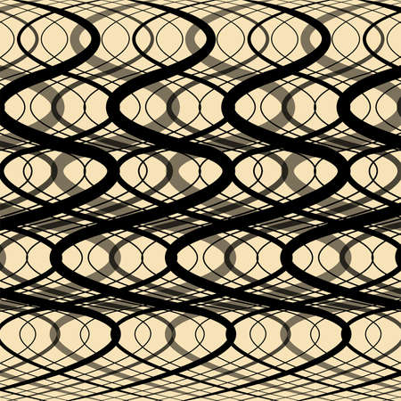 modulations: Abstract background - Black Wavy stripes on a beige background