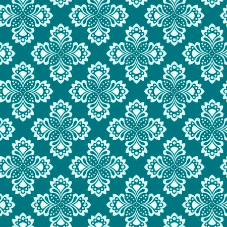 Seamless background - doily with abstract flowers in turquoise colors  EPS10 vector, swatch included  Vector