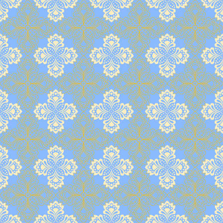 Seamless background - doily with abstract flowers in turquoise colors. EPS10 vector, swatch included.