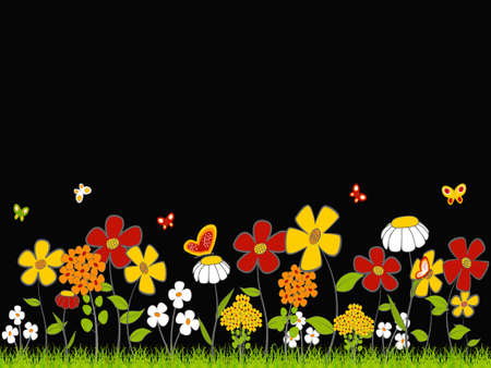 Background - floral cartoon  theme on a black background. Vector