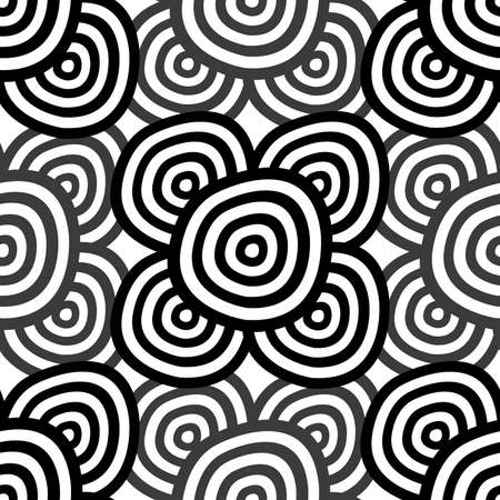 抽象的なシームレスな背景 - 白黒リング。EPS10 ベクトル。  イラスト・ベクター素材