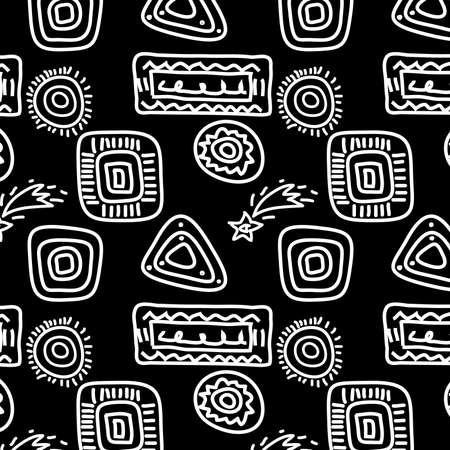 Resumen de antecedentes sin fisuras - símbolos blancos sobre negro Ilustración de vector