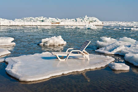 anomalies: Trestle Bed On a Floe. Photo taken in Odessa, Ukraine. Winter 2012, last time similar weather anomalies occured in 1977 when Black sea at coast of Odessa has completely frozen. Stock Photo