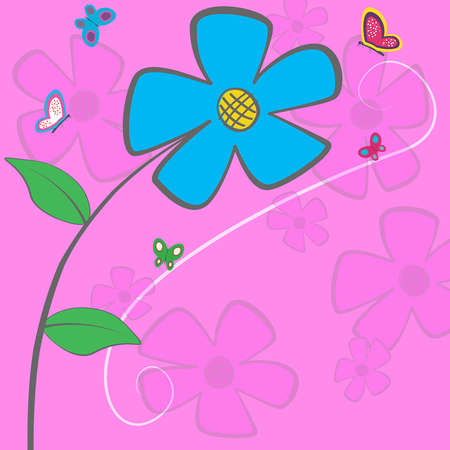 Cartoon floral card - blue daisy with butterfly and space for text or image Vector