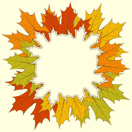 Autumnal maple leaf frame, with space for text or image Stock Vector - 15736877