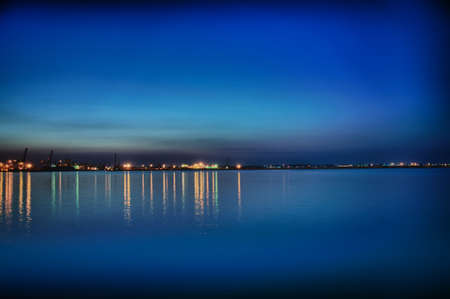 Night coastline, view from the pier of Odessa Sea Port. Ukraine. photo