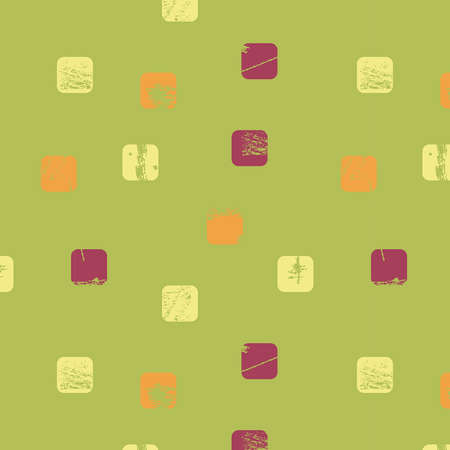 old kitchen: Abstract seamless background - scratched colored squares.   Illustration