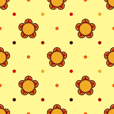 Floral seamless background - Stained glass flowers.  Vector