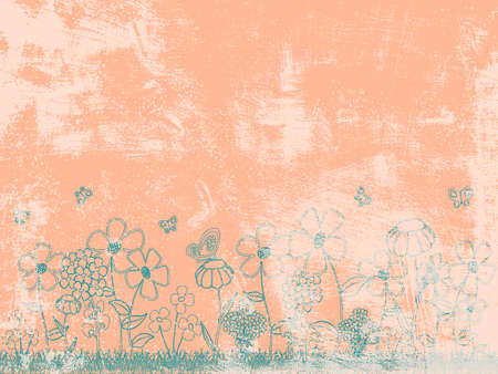 peachy: Grunge Peachy Floral Background.