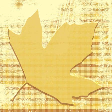 Autumn leaf print on a grunge checkered background.  Vector