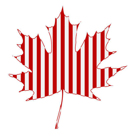 canada day: Striped maple leaf on a white background.