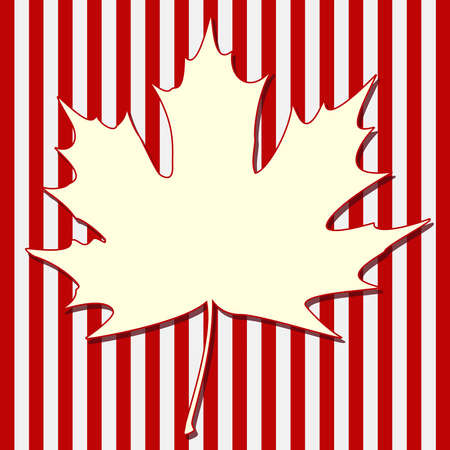 White maple leaf silhouette on a striped background.