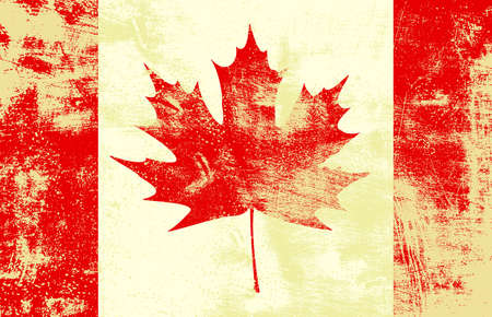 Grunge textured canadian flag.  Vector