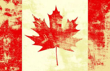Grunge textured canadian flag.  Illustration