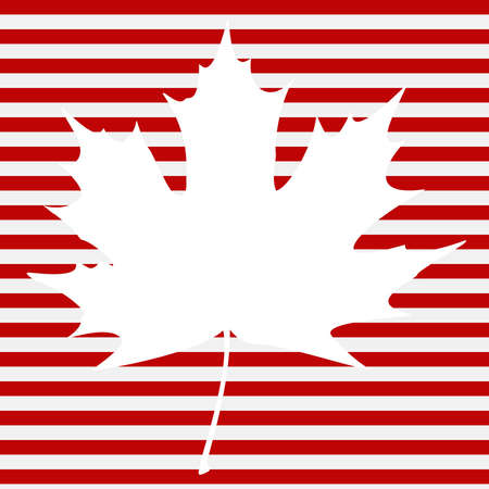 White maple leaf on a striped background.  Vector