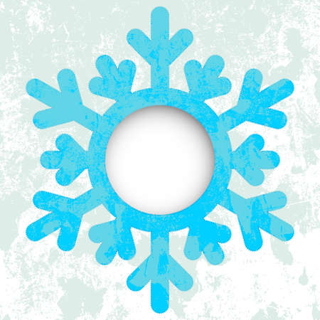 Christmas card - a snowflake, with space for text or image.  illustration. Grunge effect can be cleaned easily. Vector