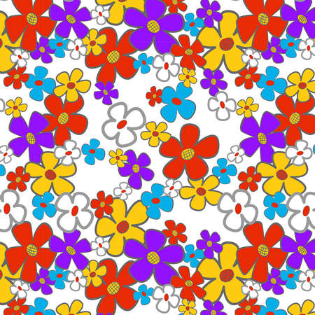 Floral cartoon seamless background.  illustration. Stock Vector - 16173140