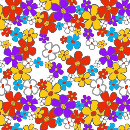 Floral cartoon seamless background.  illustration. Stock Vector - 16173140