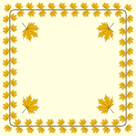 Autumnal Frame - ornament from autumn leaves, with a place for the text or the image.  Stock Vector - 16173176