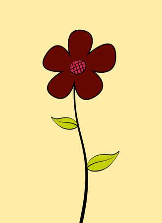 Single red cartoon flower. Vector