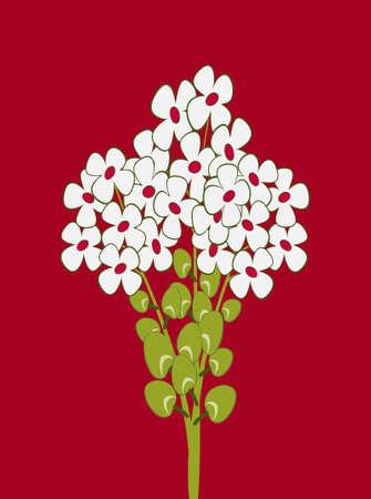 Cartoon bouquet of white flowers.