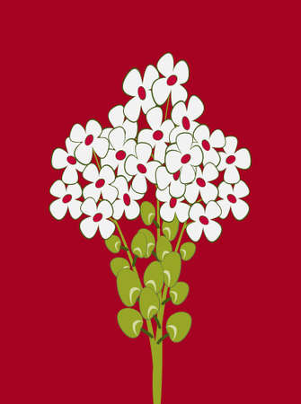 Cartoon bouquet of white flowers. Vector