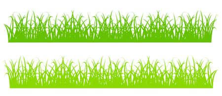 디자인 요소 - 만화 녹색 잔디의 실루엣. 벡터