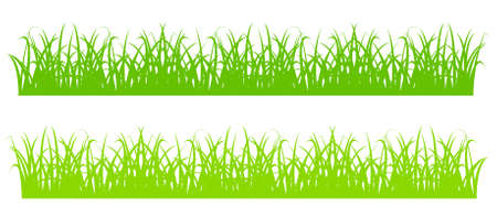 herb garden: Design element - silhouette of cartoon green grass. vector Illustration