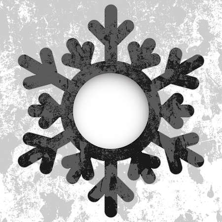 Monochrome Christmas card - a snowflake, with space for text or image.  vector Vector
