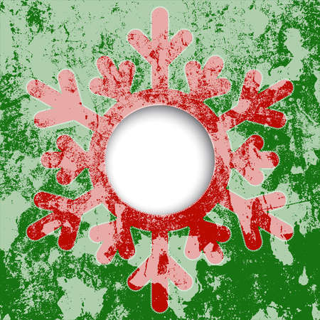 Christmas card - a red snowflake, with space for text or image.  vector Stock Vector - 16762300
