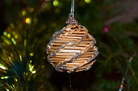 spangles: Christmas Toy - Straw Ball with silver spangles. Stock Photo