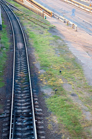 Railway tracks stretching into the distance. photo