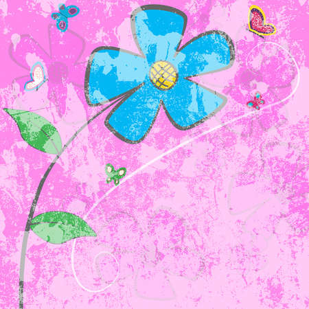 Grunge cartoon floral card - blue daisy with butterfly and space for text or image.  illustration. Vector