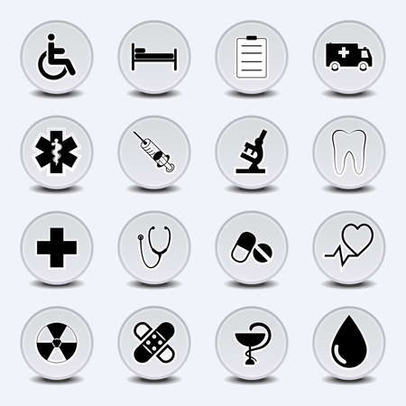 pharmacy icon: Set of icons on a medical subject, a round form, in light gray tones. EPS10 vector. Illustration