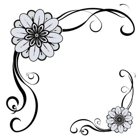Bloemen decoratieve grens, met ruimte voor tekst of afbeelding. EPS10 vector.