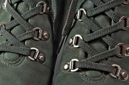 Laces tucked into loops, closeup  photo