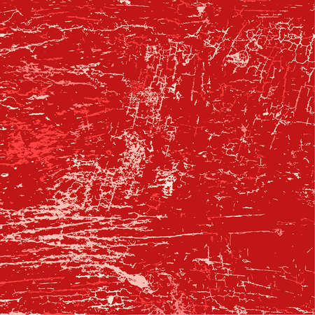 cracked wall: Red abstract grunge background - old cracked painted wall. vector.