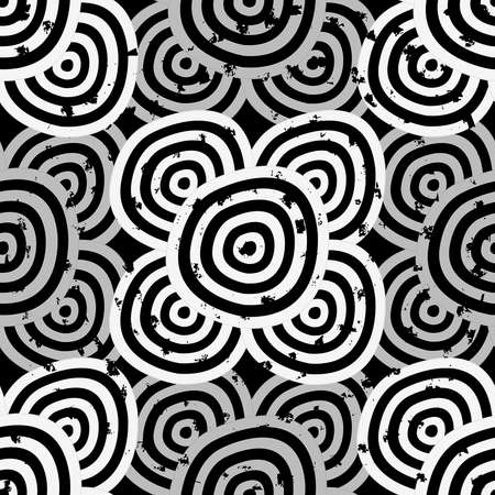 Grunge Seamless background - hypnotic black and white circles Vector
