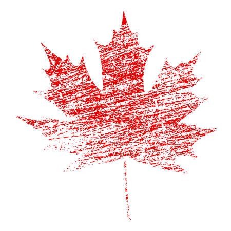 Red maple leaf in abstract grunge painted texture vector illustration