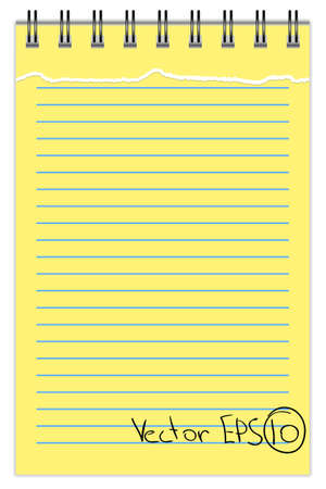 Blank Notepad with torn sheet, in line Vector