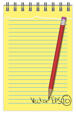 Blank Notepad with torn sheet and pencil, in line Vector