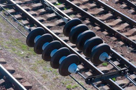 鉄道電気オーバーヘッド。クローズ アップ。 写真素材